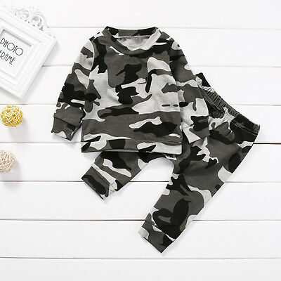 2Pcs Baby Boy Girl Cotton Tops T-shirt Legging Pants Toddler Clothes Set Outfits