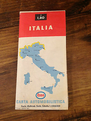 1967 Vintage ESSO Italia Large Foldout Map ~ Two Sided ~ Italy & Sicily