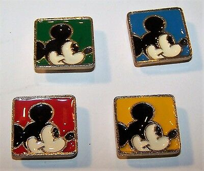 Vintage Mickey Mouse Disney Button Covers Set of 4 Enamal over Gold Tone Metal