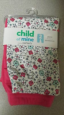 Carter's ~ 2 Pair of pants ~ 1 Pink with Ruffles ~ 1 Elephant Print ~ Size 0 - 3