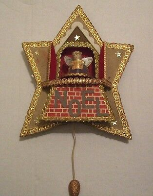 Bright Star Vintage Christmas Pull String Musical Turning Angels Star Plaque