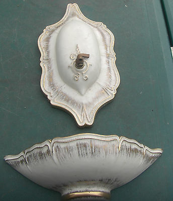 Antique Patio Sconce Signed Royal Haeger White / 22k Tweed Ceramic Fountain