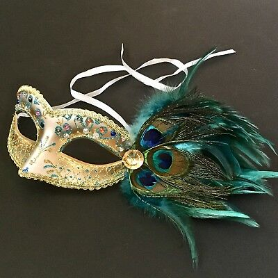 Peacock Feather Women Venetian Masquerade Costume Prom Party Mask