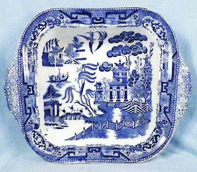 Blue Willow Serving Bowl Tab Handles Square Semi China Antique As Is