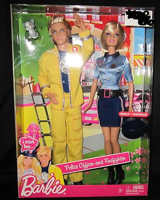 Barbie Ken I Can Be...A Police Officer and Firefighter Store Exclusive Set Dolls