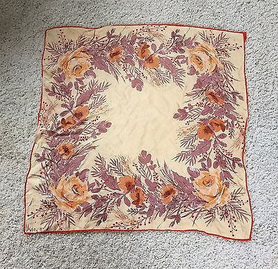 Vintage Vera Silk Hand Rolled Scarf Floral Yellow Purple Red 25 x 25