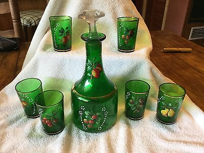 Vintage green decanter and six glasses handpainted with fruit on them