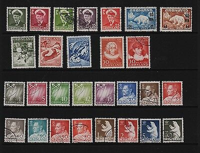 Greenland - 28 stamps, VF Used, cat. $ 42.35
