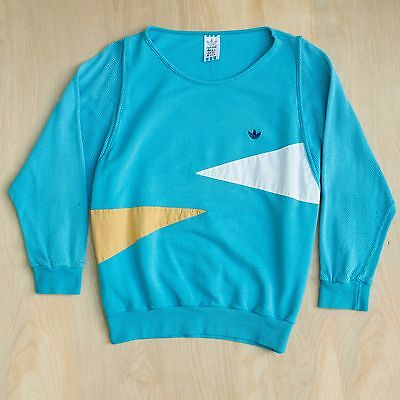 Vintage 80s 90s Adidas German Made Sweatshirt Turquoise Long Sleeve Size S