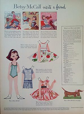 Vintage Betsy McCall Mag. Paper Doll, Betsy McCall Visits a Friend, June 1958