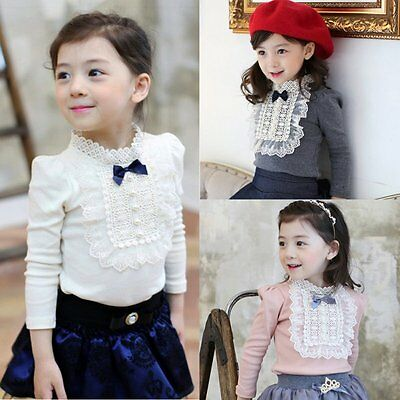 Cute Baby Kids Girls Bowknot Cotton Lace Long Sleeve Shirt Toddler Blouse Tops