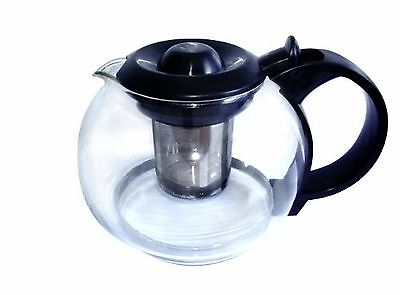 Glass Teapot or Coffee Server with Infuser Basket. (27 Oz) Black - 800ml