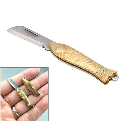 Fish-shape Keyring Pocket Keychain Tactical Folding Folder Small Knife Brass