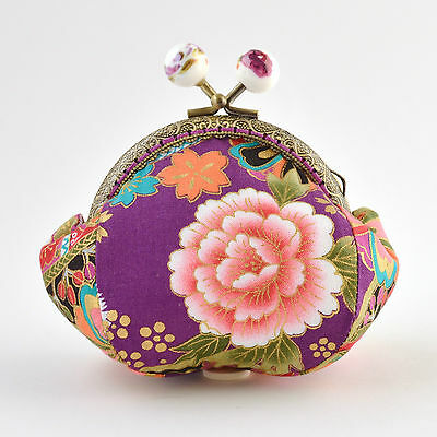 Handcrafted gold embossed purple Japanese cotton coin purse