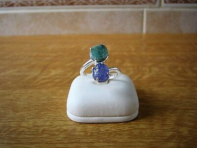 Sterling Silver 6.000ct Kagem Emerald And Tanzanite Ring