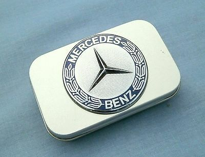 Genuine Mercedes Bonnet Badged Compact Cigarette / Tobacco Hinged Case / Tin.