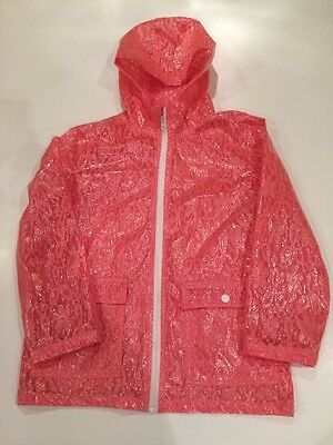 Girls Pink Lace Detail Raincoat Age 9-10 Years