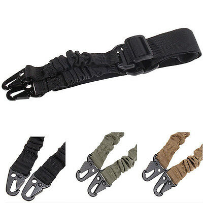 Adjustable 2 Two Point Rifle Sling Bungee Tactical Outdoor Hunting Strap System