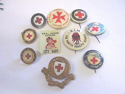 10 Various Red Cross Appeal Button Badges Pins Celluloid Metal AIM JRC