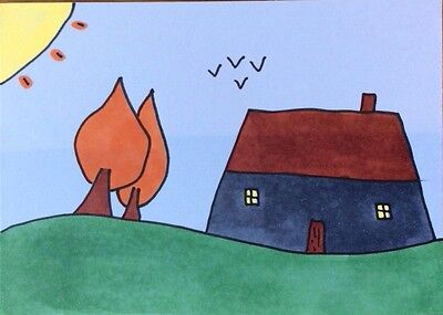 Original ACEO Grey Cottage Croft Painting Picture Drawing Child Artist Age 11