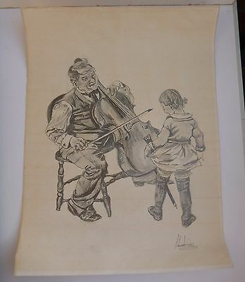 Old Pencil Drawing of a Girl watching a Man Play Chello - Signed