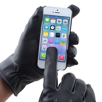 Leather Gloves Full Finger Mens Motorcycle Driving Warm Touch Screen Protection