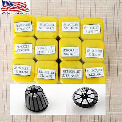 NEW ER16 12 PCS Spring Collet Set 1/32 - 3/8 CNC Super Precision 3/32 7/32 11/32