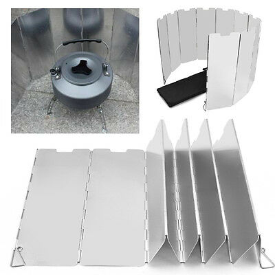 Foldable 10 plates Fold Camping Cooker Gas Stove Wind Shield Screen Outdoor