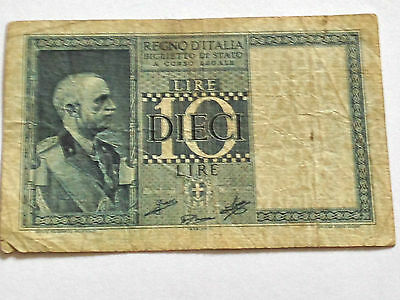 Italy 10 Lire  Banknote 1939