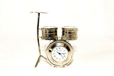 Drum Kit Clock - Silver Plated - Very Good Quality - Collectors - RRP £29.99