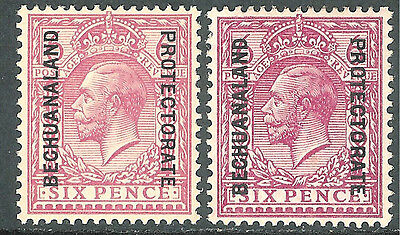 Bechuanaland 1913/15 reddish-purple 6d shades simple cypher mint SG81X2