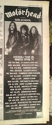 MOTORHEAD /GIRLSCHOOL 1979 Tour UK Press ADVERT 16x6 inch