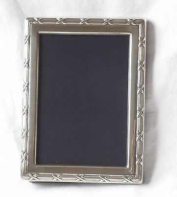 Hallmarked Silver Photo Frame. Mappin & Webb Sheffield 1989.reeded & Cross Decor