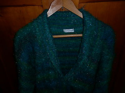 VINTAGE 1980s ANGORA MIX GREEN FLUFFY CARDIGAN EXCELLENT CONDITION