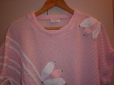 VINTAGE 1980s PINK KNIT SMALL TOP EXCELLENT CONDITION
