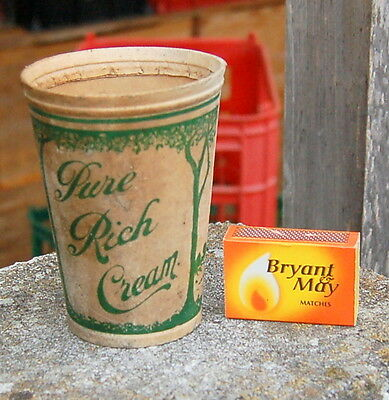 """(milk bottle) : lovely rare old waxed carton dairy """"Pure Rich Cream"""""""