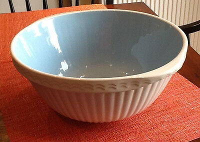 "Vintage The Easimix Bowl T G Green England Blue White  11"" Mixing Bowl"