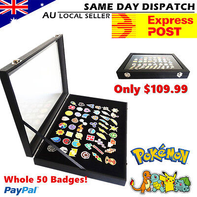 Pokemon Gym leader Badges  Set of 50 Alloy Pins Glass Lid Display Showcase Xmas