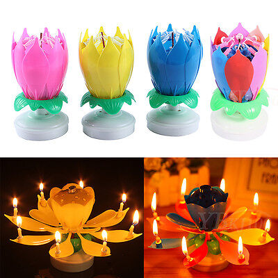 1Pc/10Pcs Musical Rotating Lotus Flower Cake Topper Party Birthday Candle Gifts
