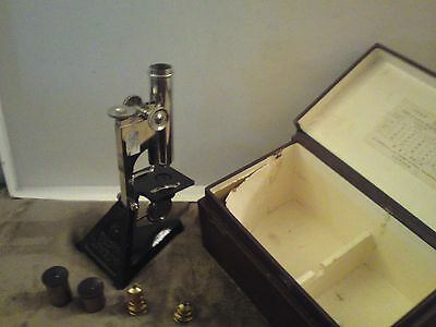 MICROSCOPE - R & J BECK (STAR) - IN PRESENTATION BOX- VINTAGE + 4 MAGNIFIERS (rb
