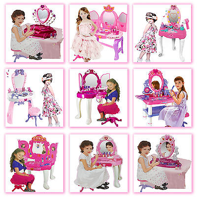 Girls Princess Glamour Mirror Dressing Play Vanity Table Set Makeup Kids Toy New