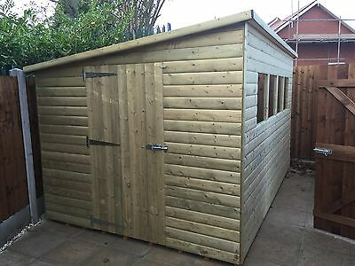 Tanalised Pressure Treated Pent Shed 10X6 **best On Ebay**