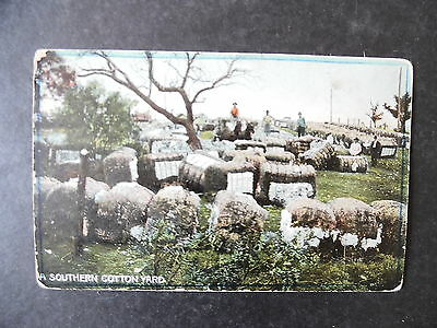 ca1910 A Southern Cotton Yard Bales of Cotton Postcard