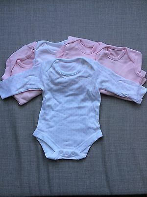 5 Pack Long Sleeve Body Suit Baby Grow BNWOT Girl Pink Newborn To One Month
