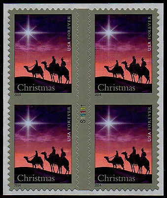 USA Partial Die Cuts Sc. 4945 (49¢) Three Magi 2015 block with gutter & # MNH