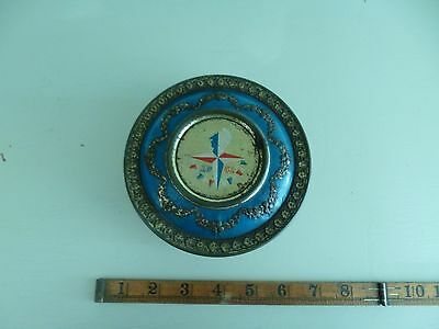 1951 Rare Festival Of Britain Round Tin With Logo Bunting Blue & Embossed Swags