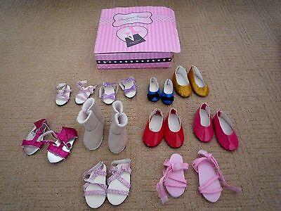 """Design A Friend Assortment Of 10 Pairs Of Shoes For 15"""" & 18"""" Dolls With Box"""