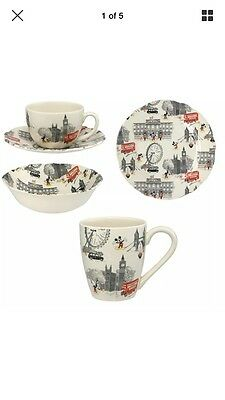 Cath Kidston x Disney Mickey In London Set Cup, Side Plate, Cereal Bowl, Cup & S