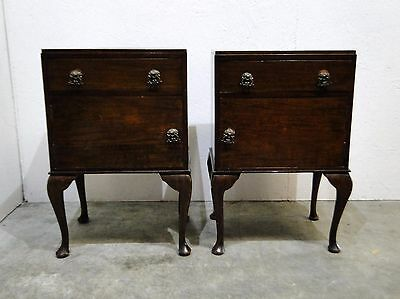 Two Vintage Antique Style Mahogany Bedside Cabinets  (0524s)
