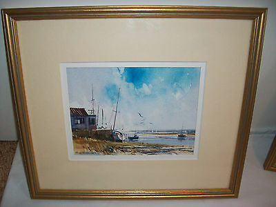 """original Ray Balkwill """" Bright Day, Topsham """" framed watercolour painting signed"""